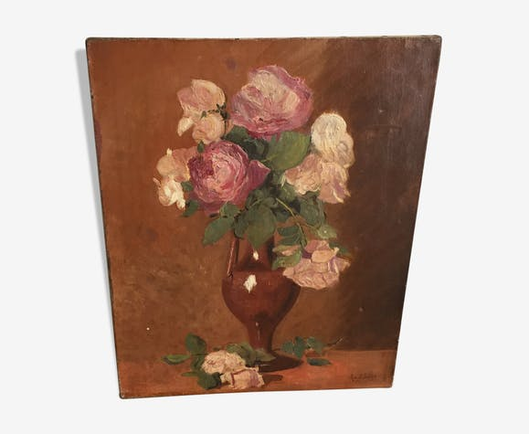 Huile sur toile,  bouquet de fleurs