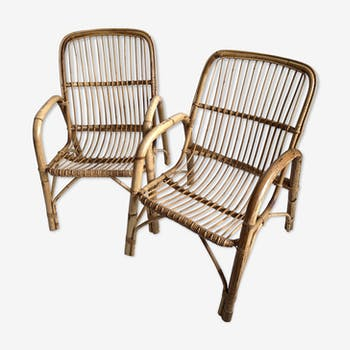 Pair of bamboo and rattan armchairs