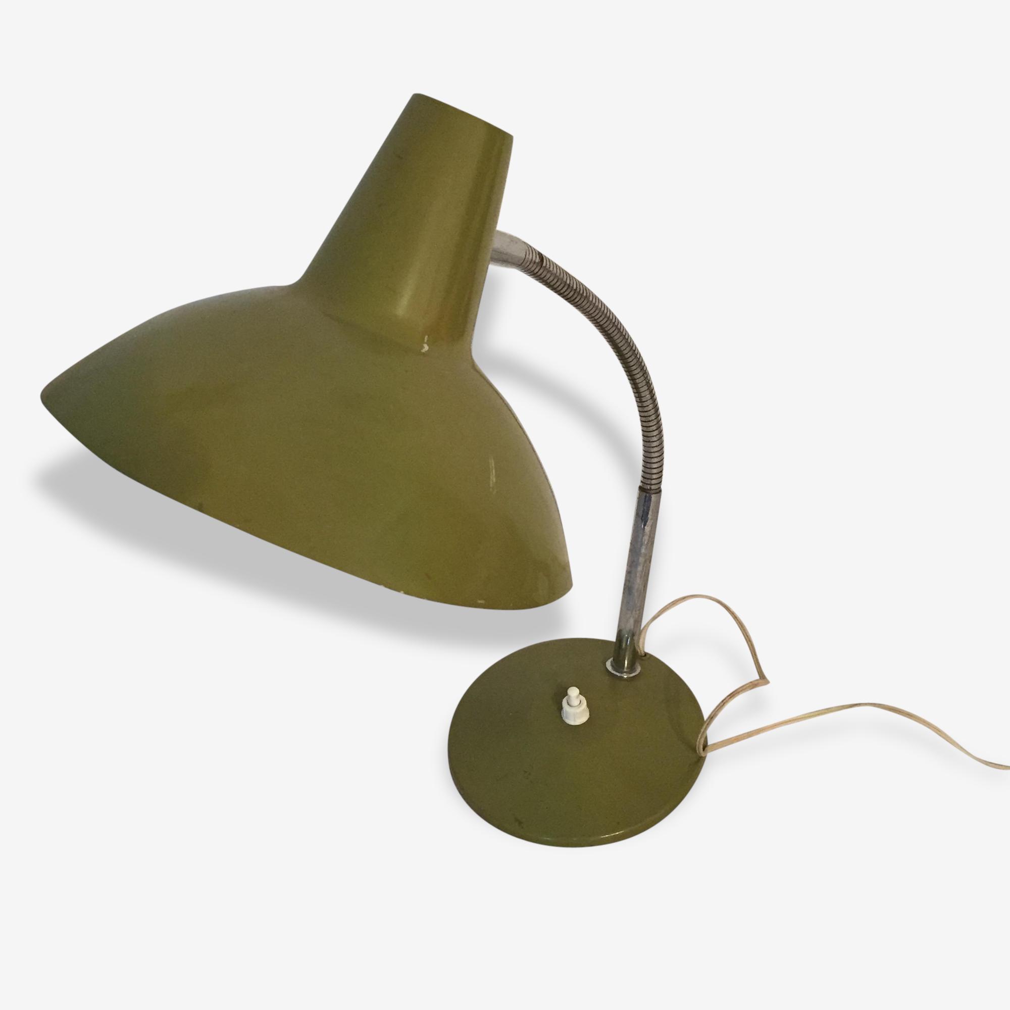 Lampe de bureau aluminor vintage verte