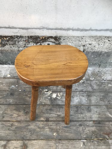 Tabouret de traite bois brut vintage