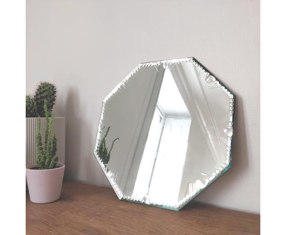 Miroir hexagonal biseauté et ciselé 27x27cm