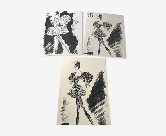 Lot of 3 fashion sketches for press