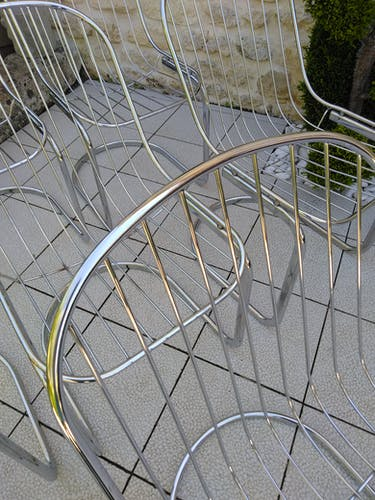 Série de 6 chaises vintage chromées années 70