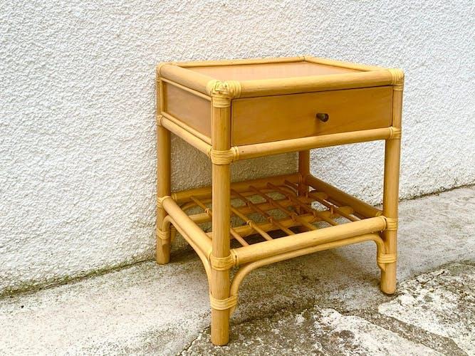 Table de chevet en bois et bambou années 70