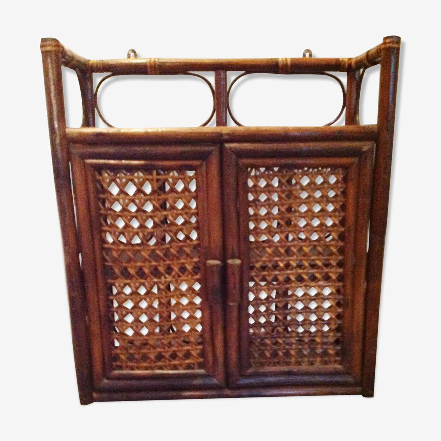 Armoire à pharmacie rotin 2 portes canées vintage