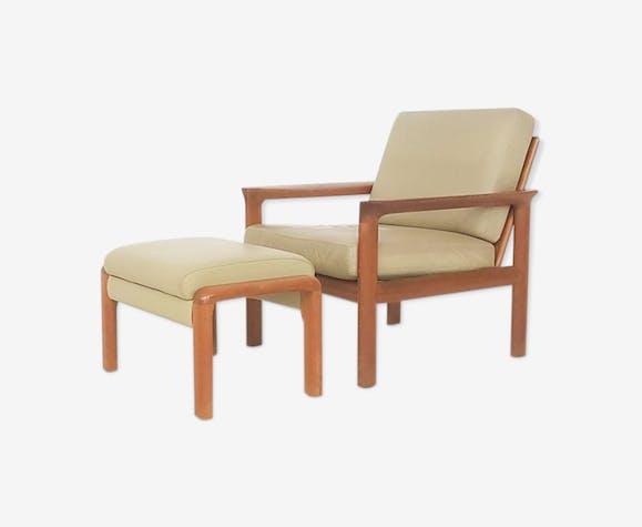 Chaise lounge et pouf en cuir et teck par Sven Ellekaer pour Komfort
