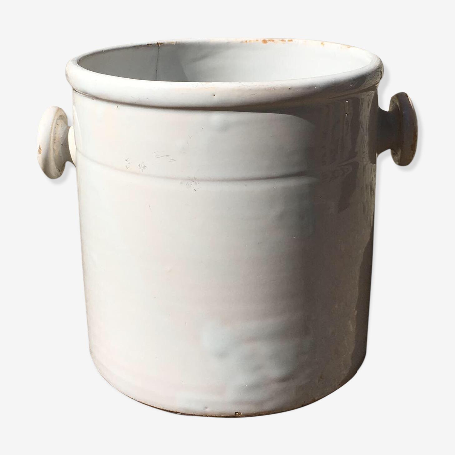 Pot en terre cuite blanc vernissé