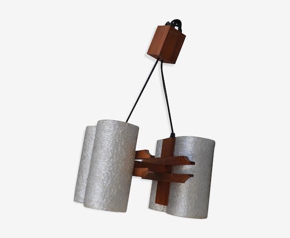 Suspension 4 lampes style scandinave teck résine 60