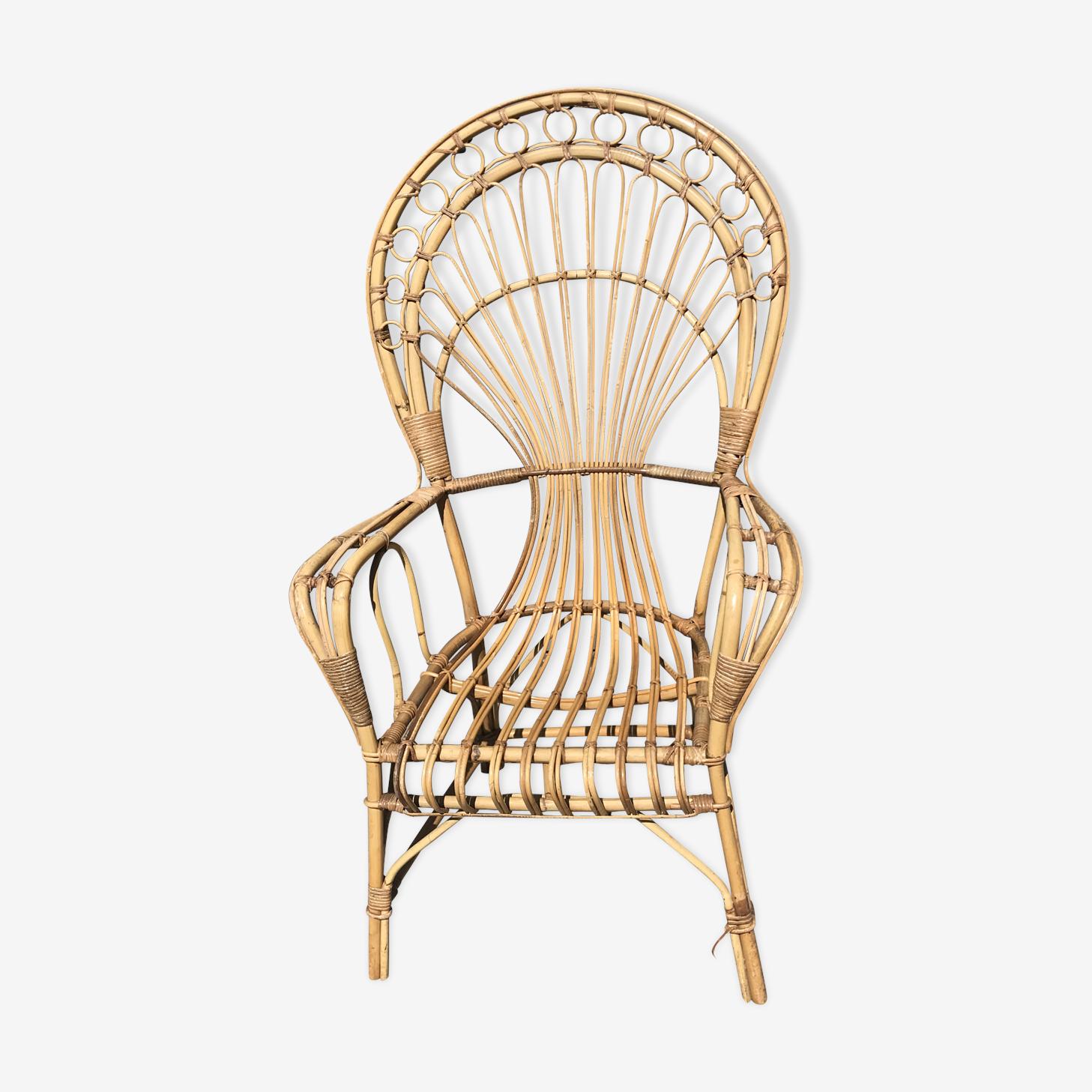 Vintage wicker rattan armchair