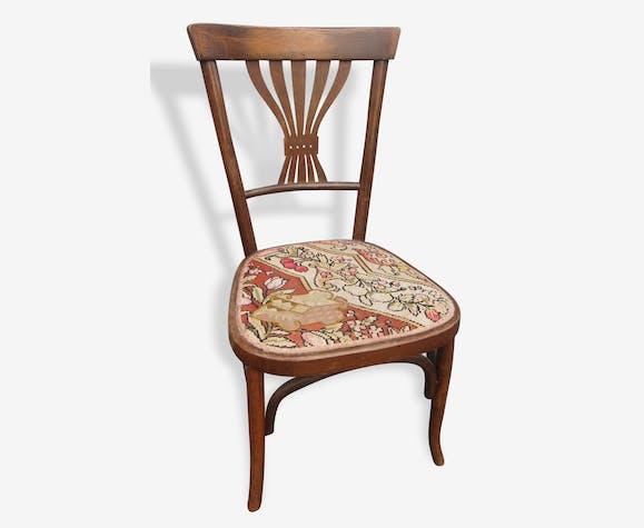 Chaise bois tourne 1900 tapisserie