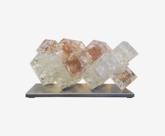 Lampe de table modèle 'Eclisse' en verre de Murano par Poliarte