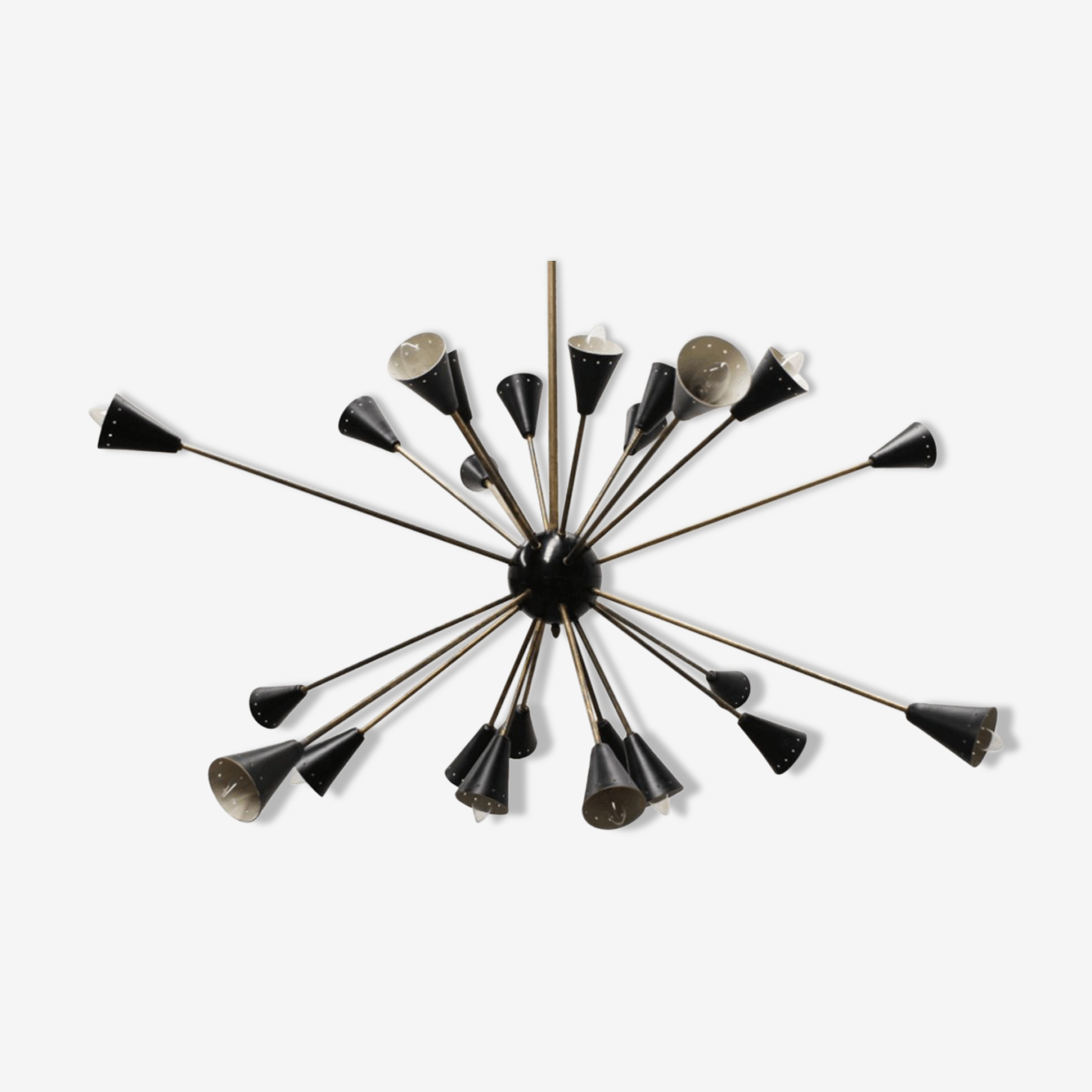 Sputnik 24 arms in black lacquered metal and brass chandelier