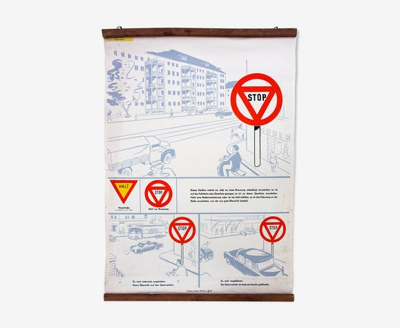 Educational poster code of the road, 1968