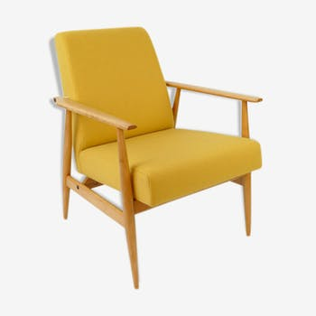 Yellow Vintage Mid Century Armchair In Yellow Wool From 60'S