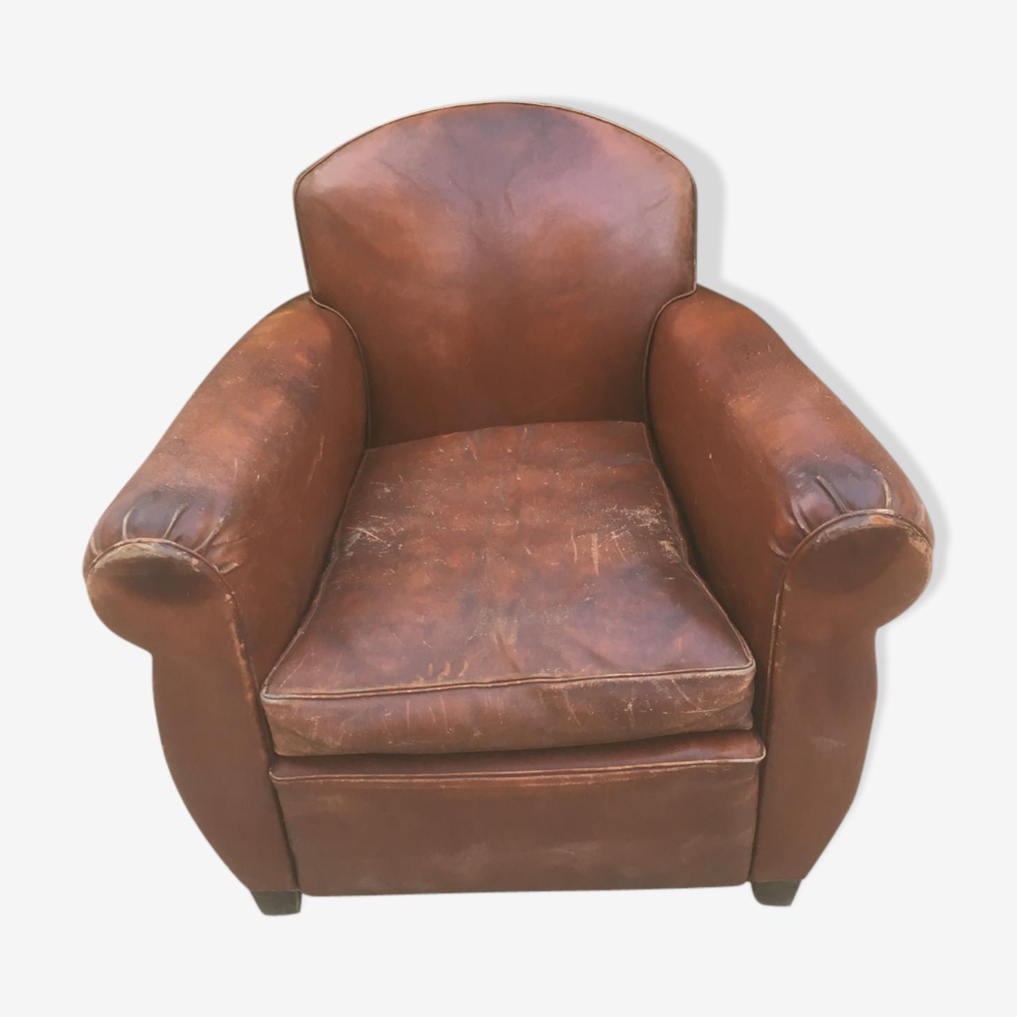Fauteuil club vintage cuir