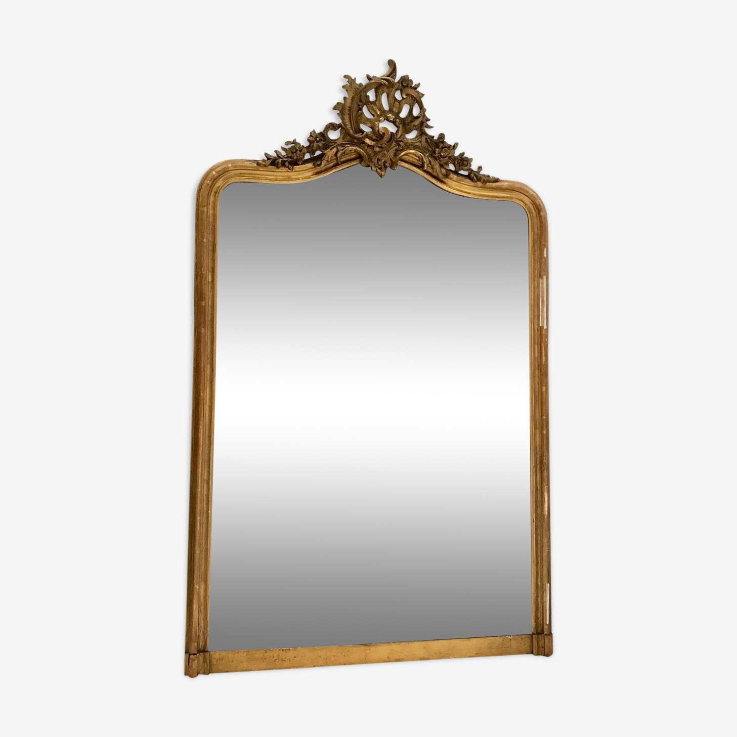 Louis XV style gilded stucco and wood mirror 145x92cm