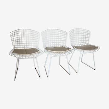 Set de 3 chaises Wire par Harry Bertoia pour Knoll