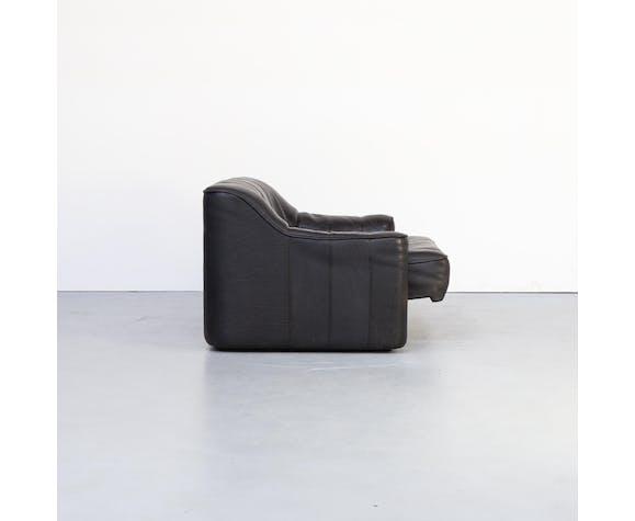 """Canapé 2 places en cuir """"Modèle DS 44"""" De Sede avec ottoman des années 70"""