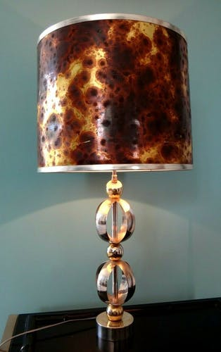 Lampe 1970 sphére métal chrome designer seventies