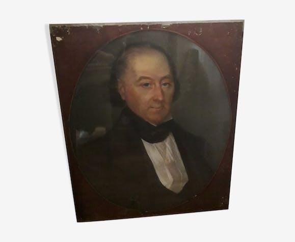 Portrait huile homme XIX ème 58x44