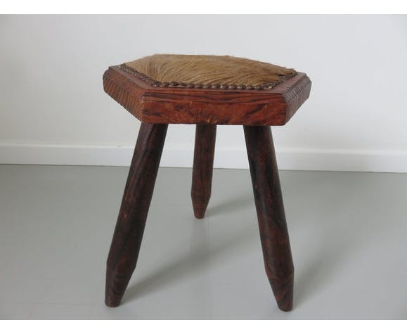 Pair of tripod stools wood and cow skin 50/60