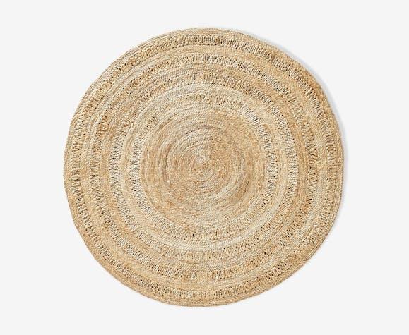 tapis rond en paille 18 150cm laine coton beige vintage s26ctbh. Black Bedroom Furniture Sets. Home Design Ideas