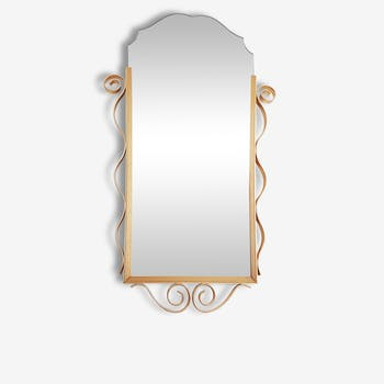 Gold metal beveled mirror