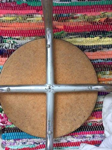 Tabouret vintage  rond  formica gris