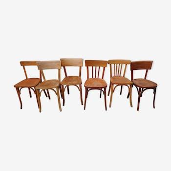 Set de six chaises vintage dépareillées