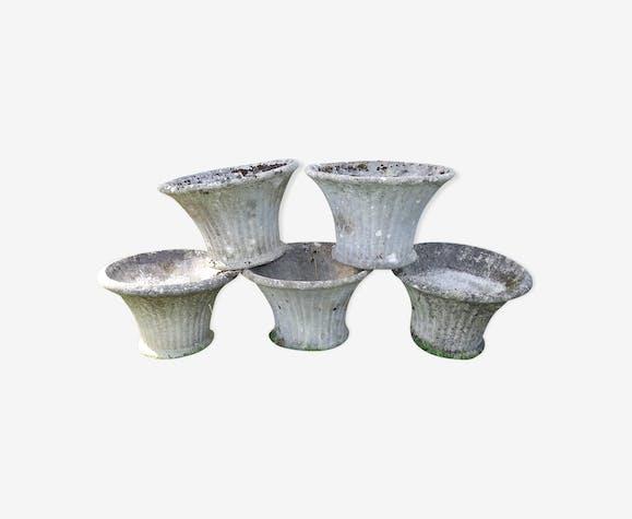 5 vases en pierre reconstituée des années 60