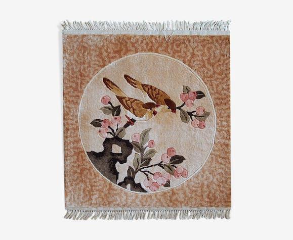Tapis vintage chinois fait main 46cm x 48cm