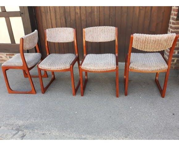 Set de 4 chaises modèle luge ou traîneau de style Baumann