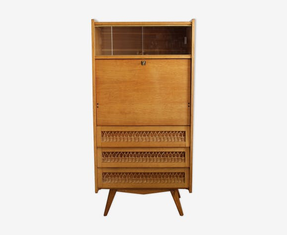 Secrétaire vintage en bois et rotin