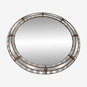 Large round mirror in brass art and Deco 66x64cm
