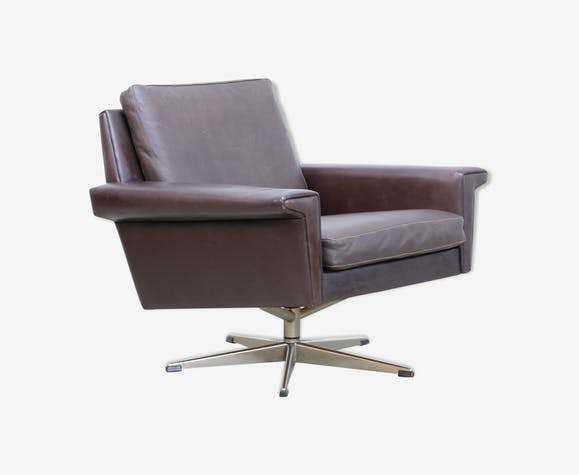 Brown Leather Danish design easy chair