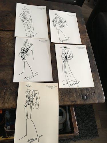 Christian Dior, illustration de mode de presse collection printemps - été 1985