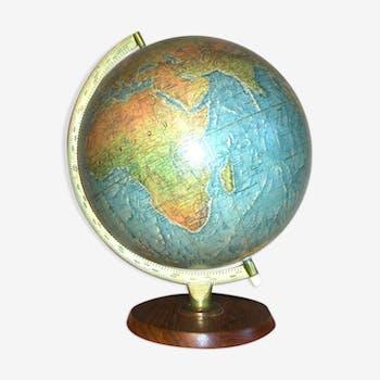 globe terrestre carte g ographique en bois vintage d 39 occasion. Black Bedroom Furniture Sets. Home Design Ideas