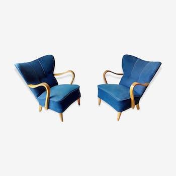 Pair of wing chairs flesh Scandinavian Danish 50s 60s blue