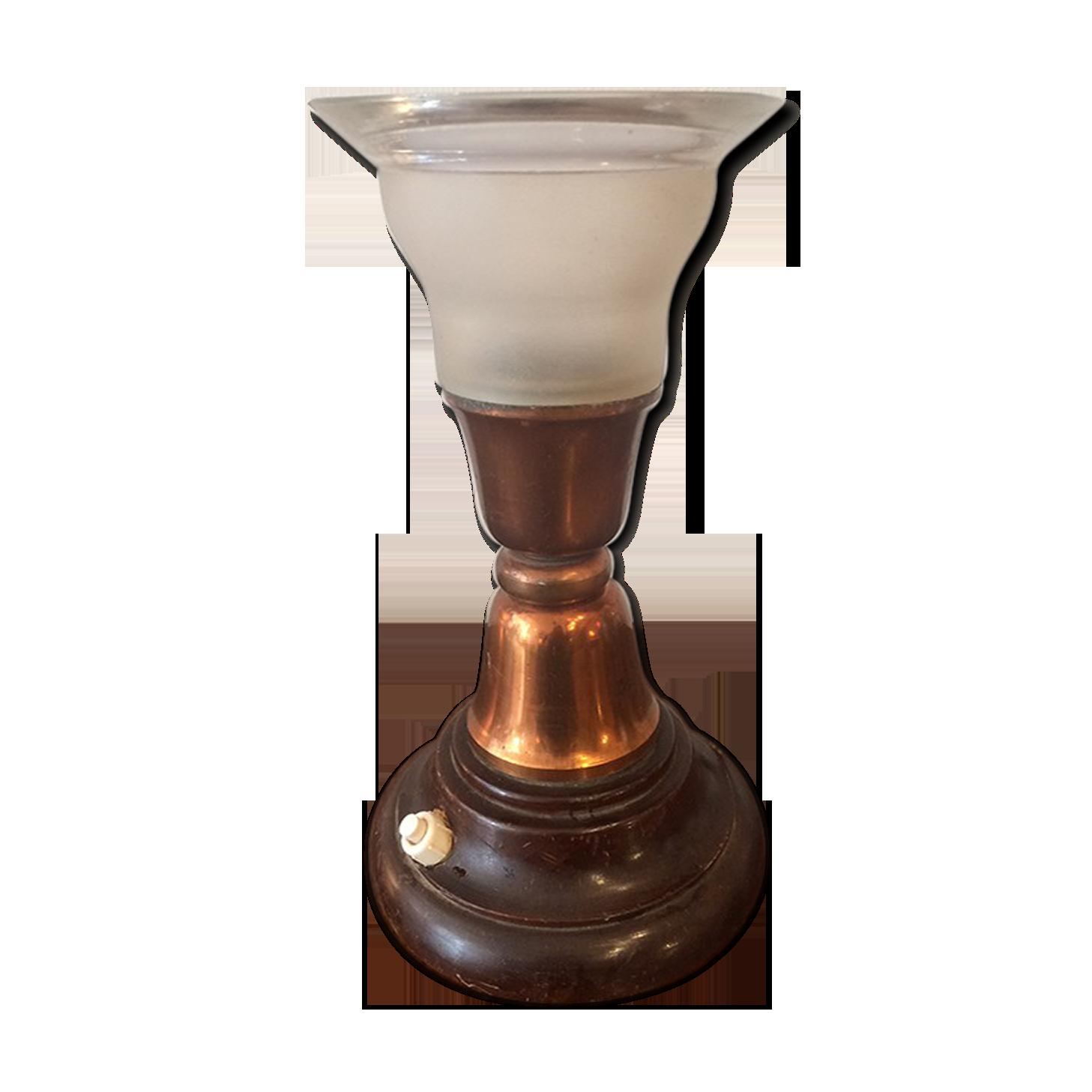 Lampe de bureau en bois metal et verre verre et cristal
