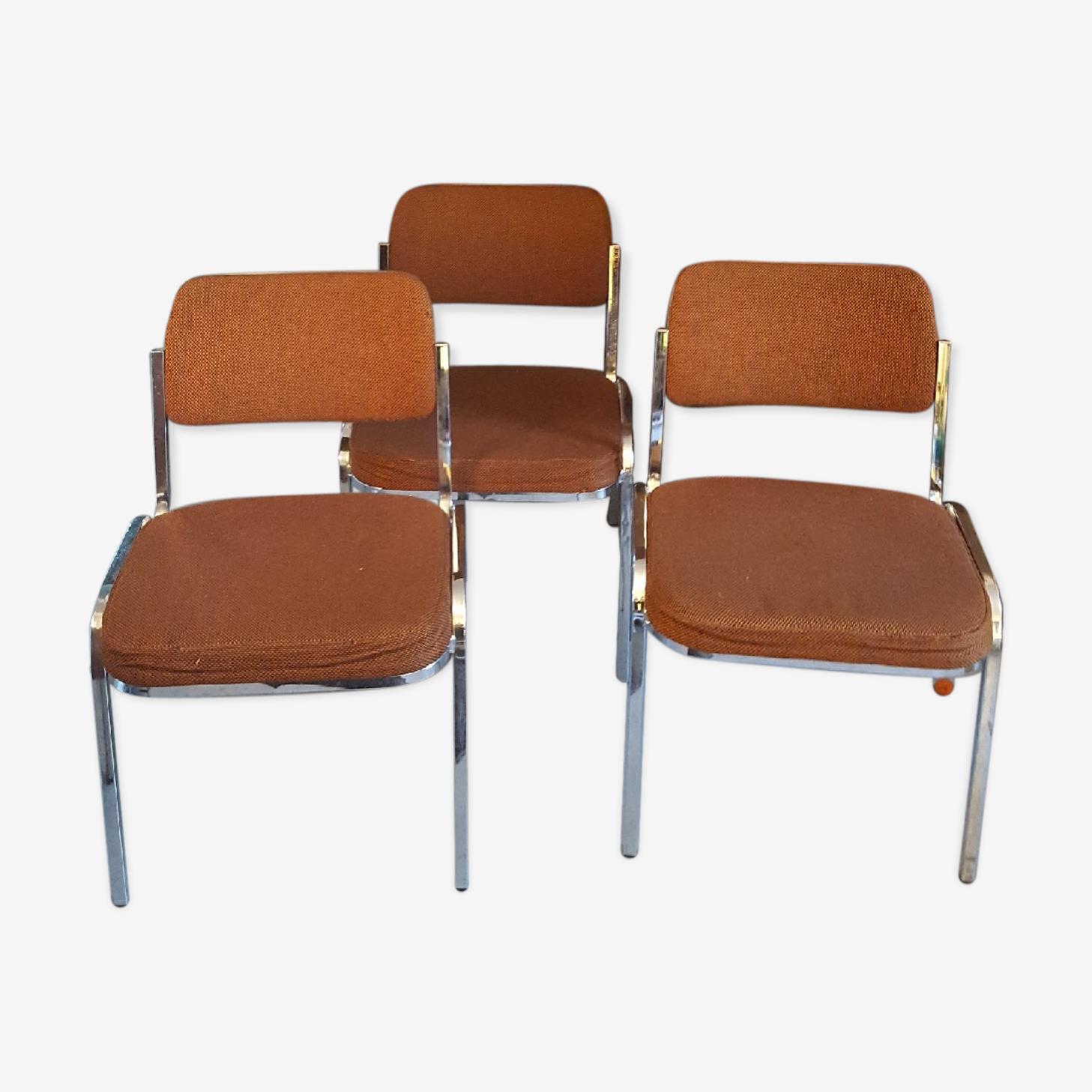 Série de 3 chaises seventies