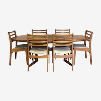 Stunning Vtg Mid Century Danish Extending Teak Dining Table & 6 Chairs Danish