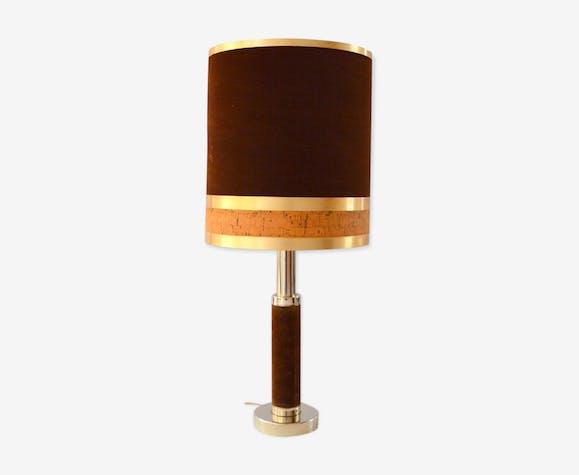 Lampe de table en laiton velours et liège 1970