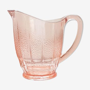 Pink glass pitcher