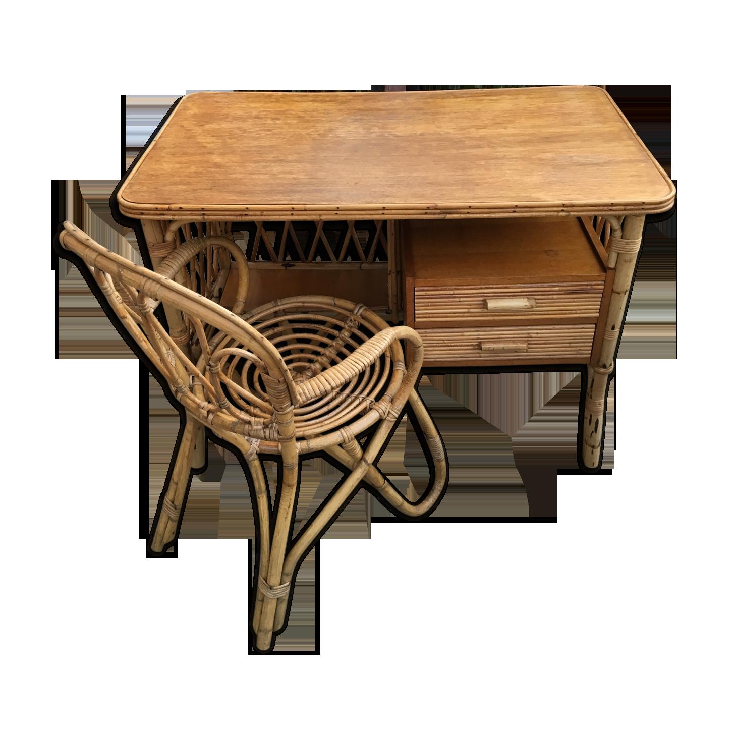 Bureau en rotin et son fauteuil s rotin et osier bois