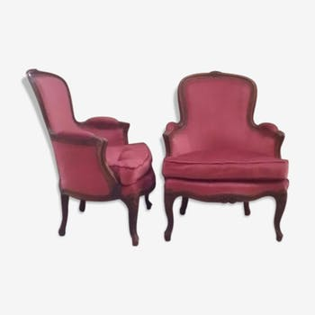 Pair of wing chairs style Louis XV