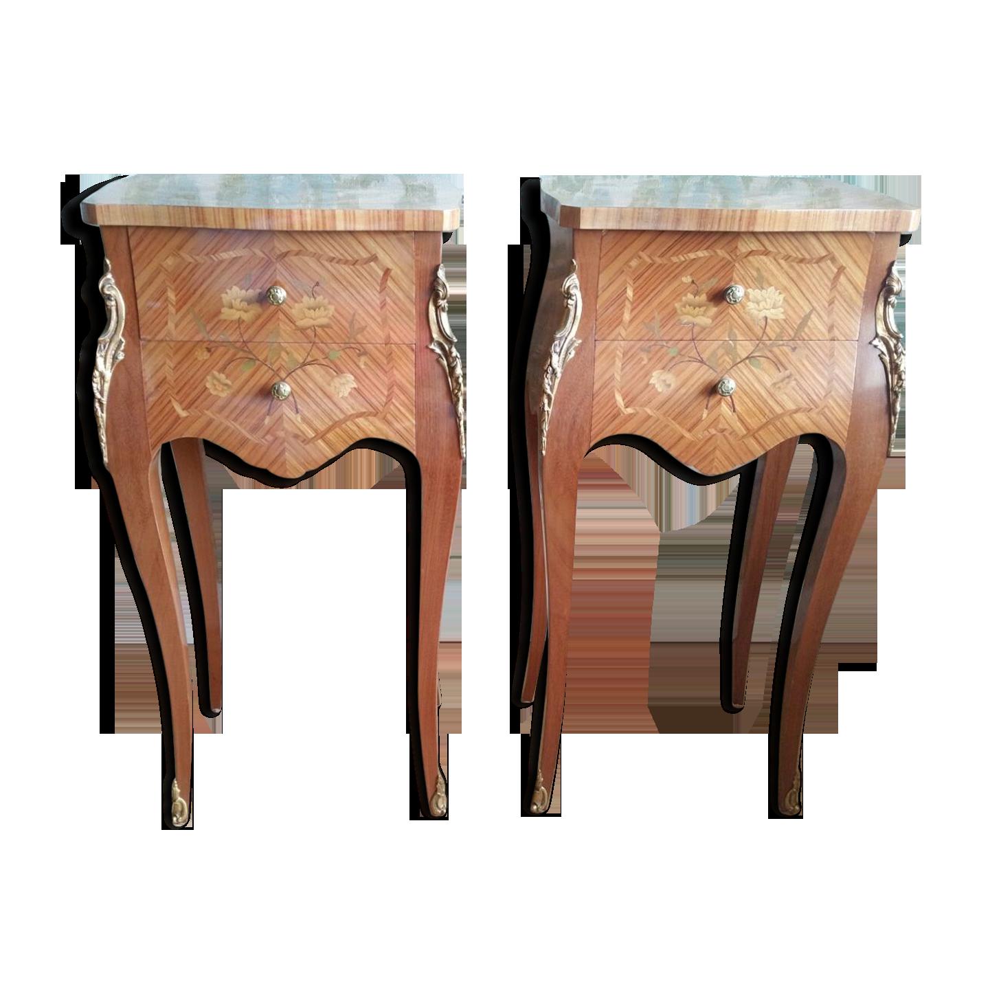 Paire de chevets style louis xv en bois de rose palissandre