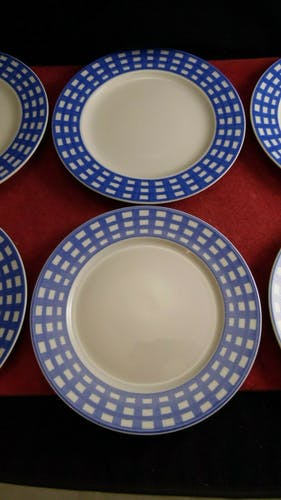 Service de 6 assiettes dessert en porcelaine Guy Degrenne modèle Pareo Bleu
