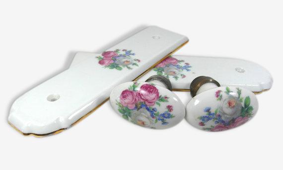 Poignes De Porte Avec  Plaques De Portes En Porcelaine Fleurie