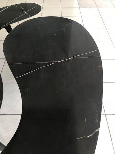 Paire de tables en marbre noires