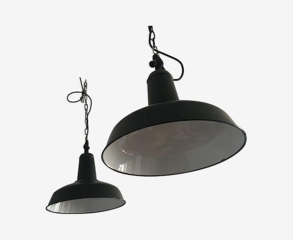 Pair of two hanging industrial enamel black